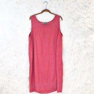 Flax linen midi shift dress